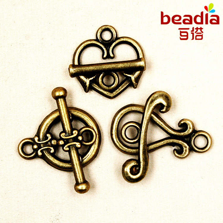 hot- 10Sets Antique Bronze Toggle Clasps Ring Jewelry Findings Free shipping(China (Mainland))