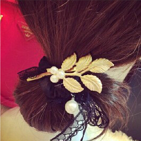 2015 New Arrival Popular Modes in Europe and America Vintage Imitation Leaves Plated Gold Hair Pin Side Clip Accessories PD27(China (Mainland))