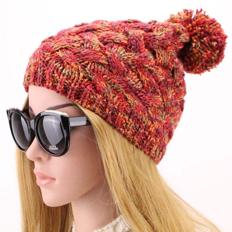 4 Colors 2015 New Fashion Winter Wool Hats Paisley Yarn Knitted Hat Autumn High Quality Gorros Skullies Warm De Lana for Women(China (Mainland))