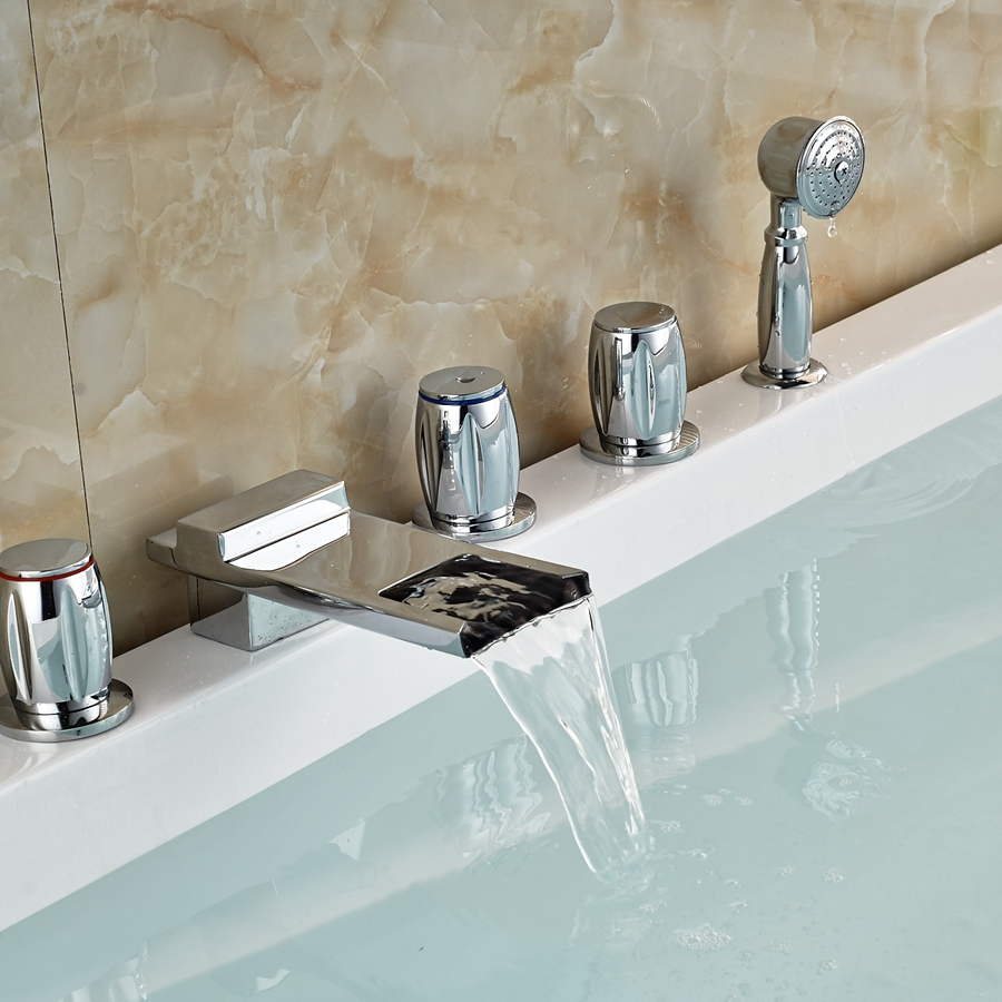 Buy Modern Luxury Waterfall Spout Bathroom Tub Faucet W Han
