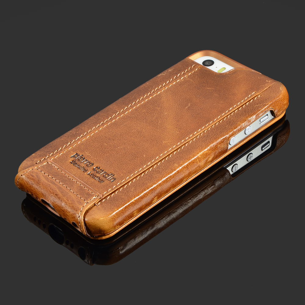 Pierre cardin brown genuine leather case for apple iphone se 5 5s 6 6s 4 7 6 6s plus 5 5 skin - Iphone 5s leather case ...