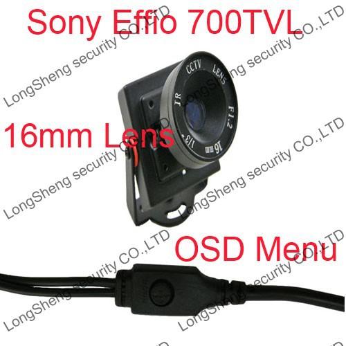 HD 16mm lens Sony effio-e 700TVL OSD Menu Control Security CCTV Color camera Free shipping(China (Mainland))