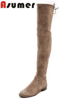 2016 высокое качество осень зима согреться натуральной кожи колен-высокие ботинки мода низком каблуке круглым носком ботинки женщин