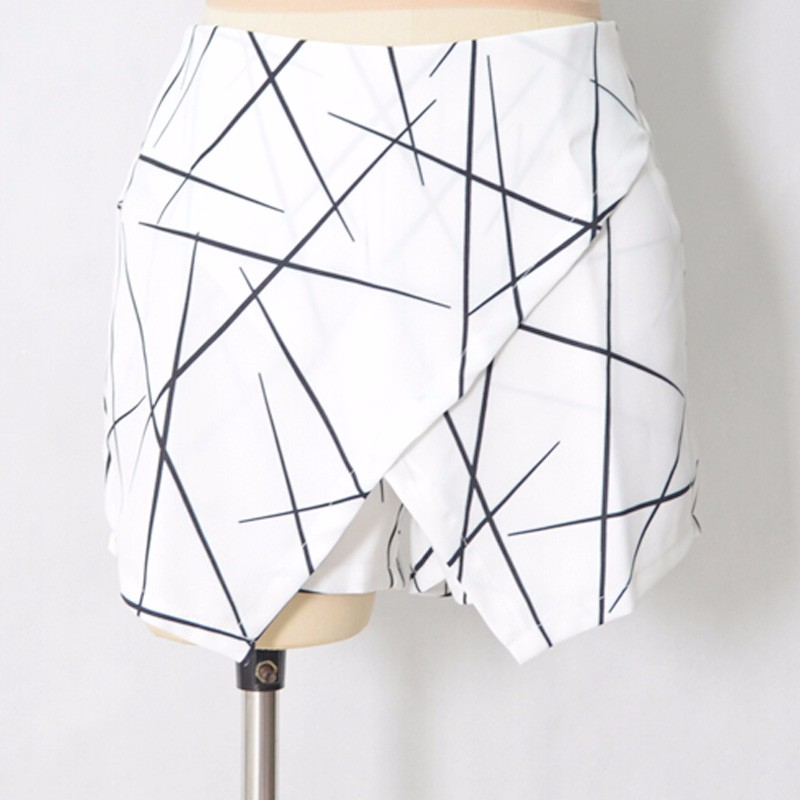 Aproms New 2018 Summer Style Shorts Women Sharp Lines Layered Zipper Skort Irregular OL White Culottes Shorts Skirts 70081