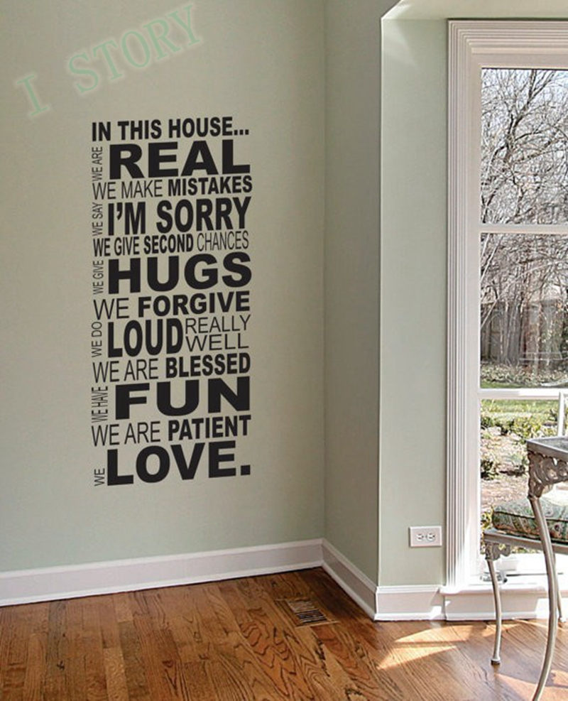 In this house vinyl wall sticker gallery home wall decoration ideas wall decals quotes in this house color the walls of your house wall decals quotes in amipublicfo Choice Image