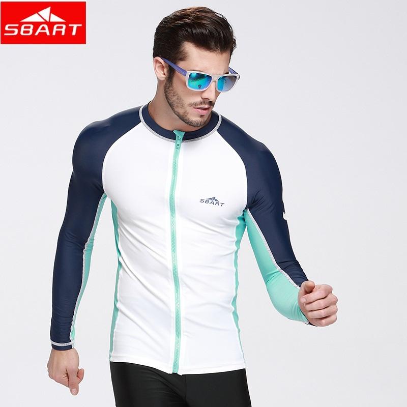 SBART 2016 upf 50 Swim Rash Guard Men Long Sleeve Swim Shirts Anti UV Rashguard Tops Zipper Plus Size Men Rashguard Jacket(China (Mainland))