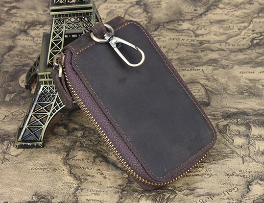 Genuine leather key wallet dark brown vintage style key holder for men & women TIDING 4035(China (Mainland))