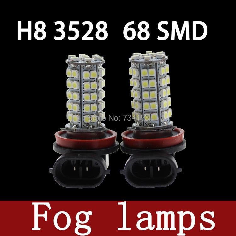 10pcs/White H11 68 SMD 1210 3528 LED Super Bright Car Fog Headlight Day Running Main Beam Light Bulb Lamp 12V Auto Lights 68LED(China (Mainland))