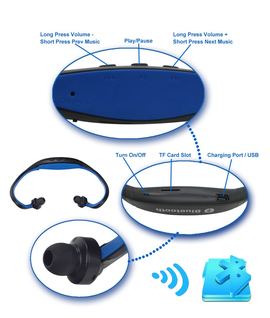 Original S9 Wireless Bluetooth Earphone Sport Headset Noise Cancelling Earphone With/Without TF Card Slot For iPhone Xiaomi