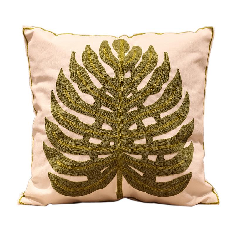 Banana Leaf Embroidered Sofa Cushion Cover 100% Cotton Handmade Jacquard Car Mat 45*45cm(China (Mainland))
