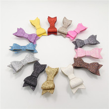 13pcs/lot Metallic Glitter Artificial Leather Bowknot Hair Clips Multi-color Fall Winter Bow Hair Grips Baby Festive Party Gifts(China (Mainland))