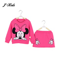 New Retails children girls clothing sets spring autumn minnie mouse long sleeve cotton fleece shirt  top +midi skirt, 6 colors