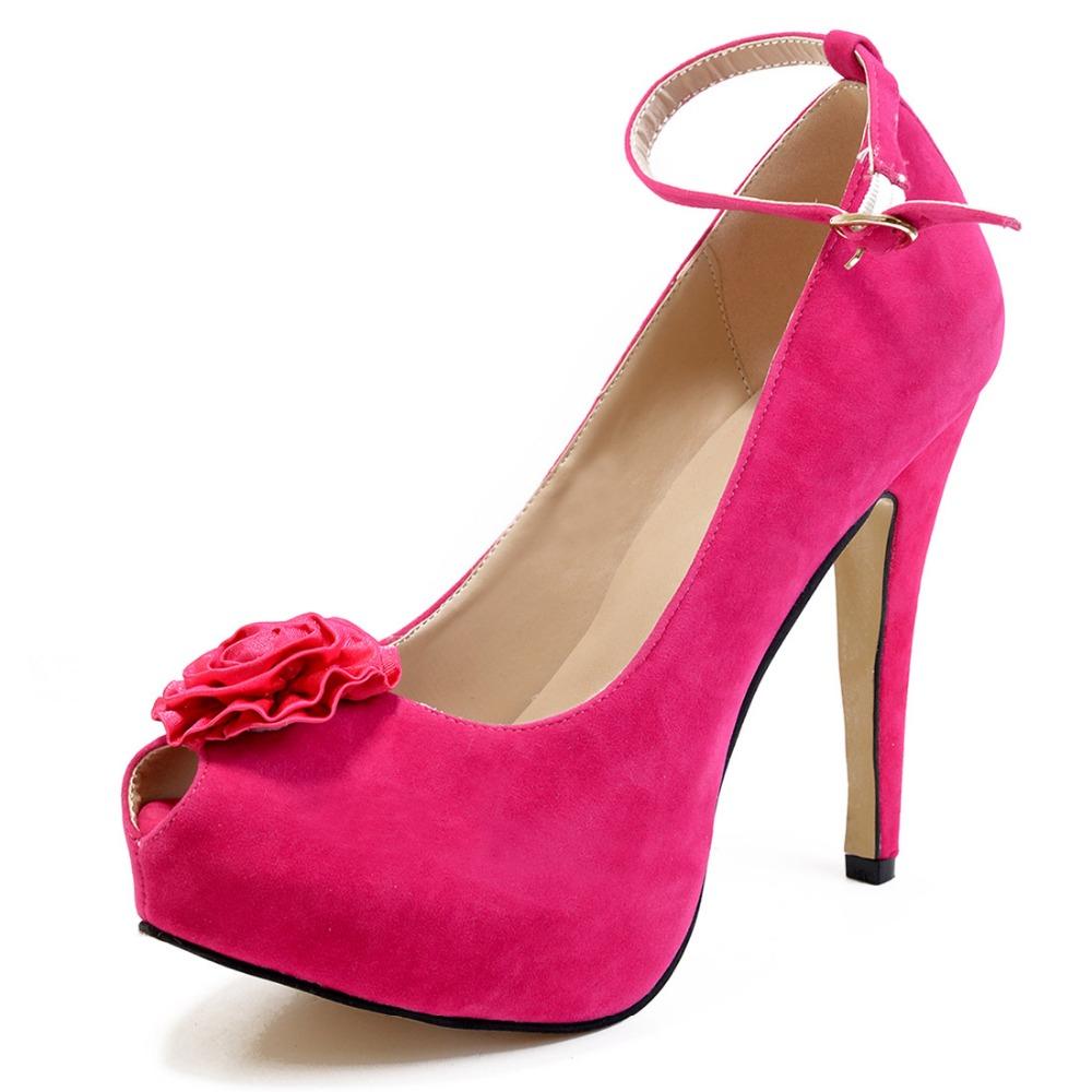 High-quality Women Spring Pumps 2016 Customizable Fashion Platform Peep Toe 12.6-14.3cm Thin Heels Pumps Shoes Woman Plus Size<br><br>Aliexpress