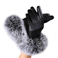 CharmDemon Women leather Gloves Autumn Winter Warm Rabbit Fur gloves Mittens at8