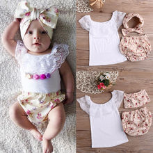 Newborn Clothing set Girls Lace T-shirt+Floral Bottoms PP Pants+head bands Outfits Set