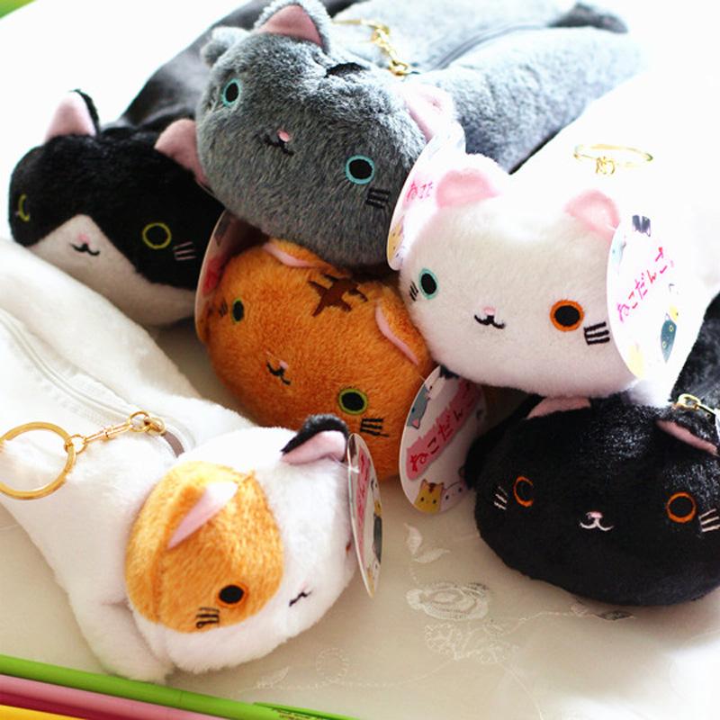 Kawaii 6 Styles Big Face Cat Plush Pencil Box Kutusita Nyanko plush & stuffed pencil bag 23cm Long(China (Mainland))