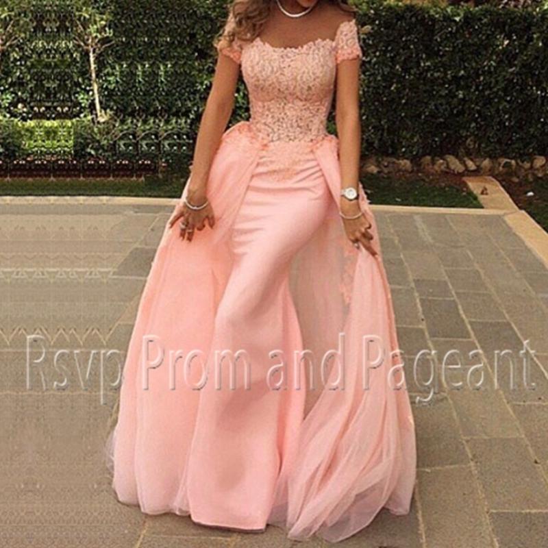 Элегантные платья выпускного вечера 2016 русалка стиль крышка милая топ кружева длиной до пола , арабский розовый длинные платья выпускного вечера