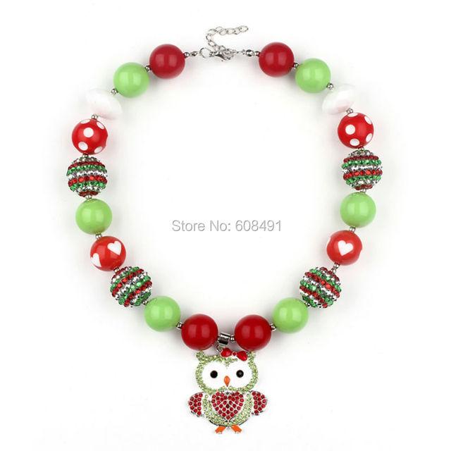 1 шт. мультфильм сова коренастый жевательная резинка ожерелье рождественский зеленый ...