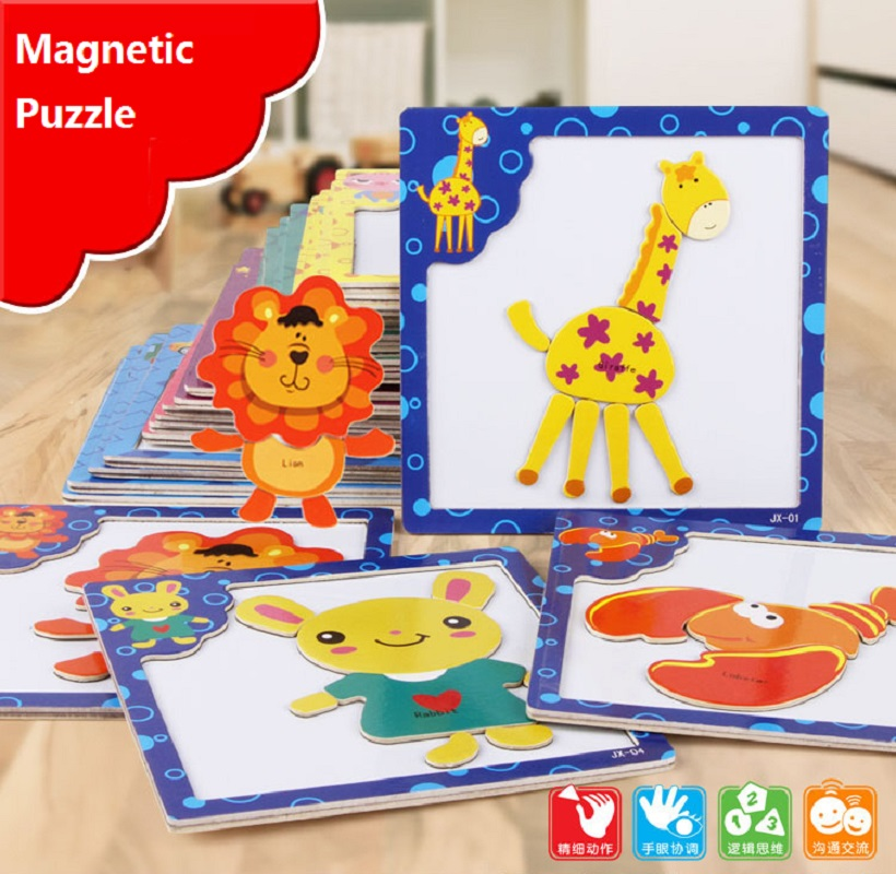Free Ship Baby Toys 5Pcs/Lot 3D Magnetic Puzzles Wooden Toys Cartoon Animals Puzzles Tangram Children Learnigng&Educational Gift(China (Mainland))
