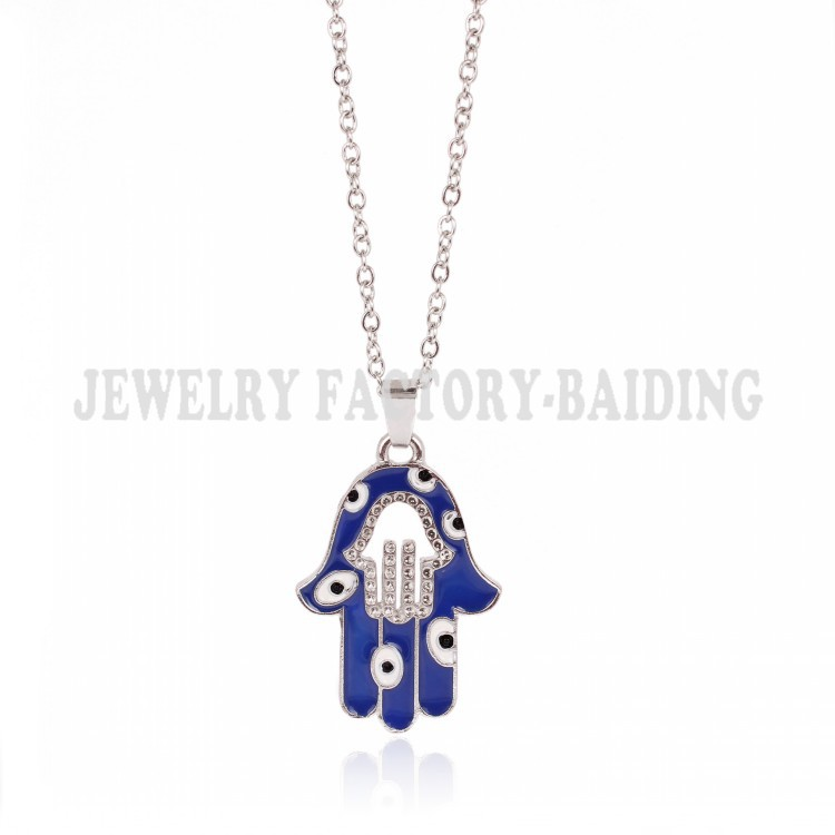 ! New Fashion jewelry blue hamsa hand white evil eye alloy charm necklace - Yiwu Baiding Trade Co., Ltd. store