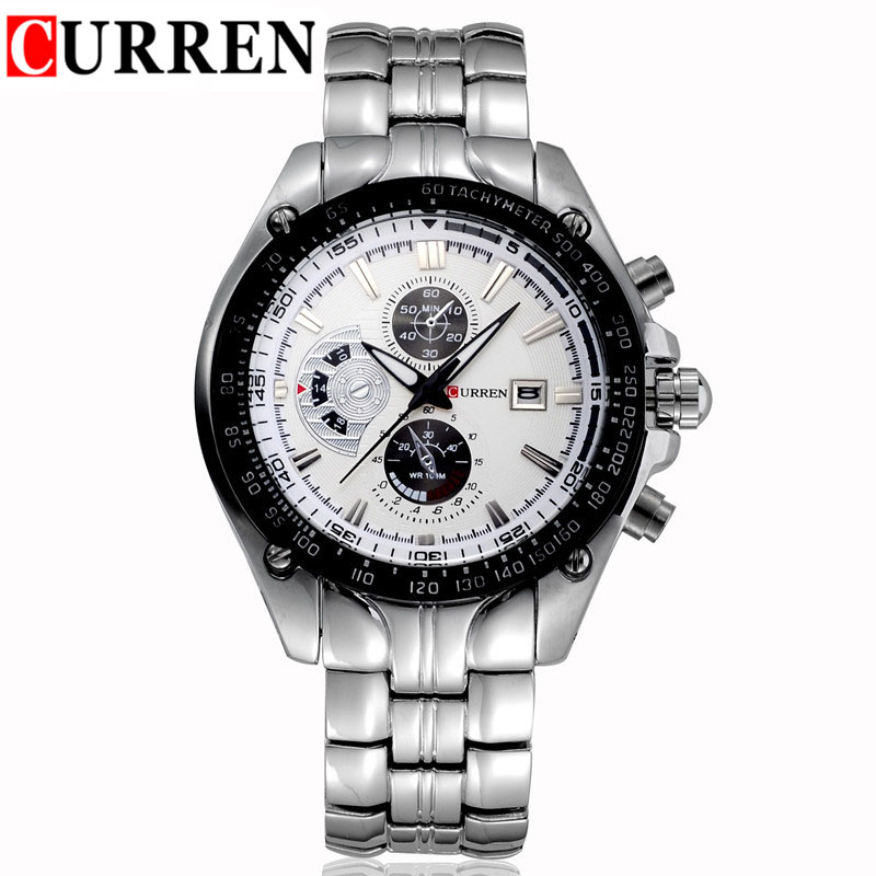Curren Famous Brand Mens Full Steel Watch Three Small Dial Chronometer Quartz-Watch Man Auto Date Business Relojes Wrist Watches(China (Mainland))