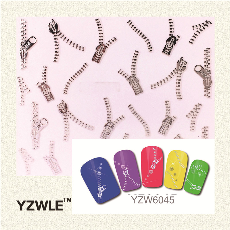 YZWLE 1 Sheet Silver Colors Fashion 3D Nail Art Stickers 2017 New Styles Manicure Decals Decoration