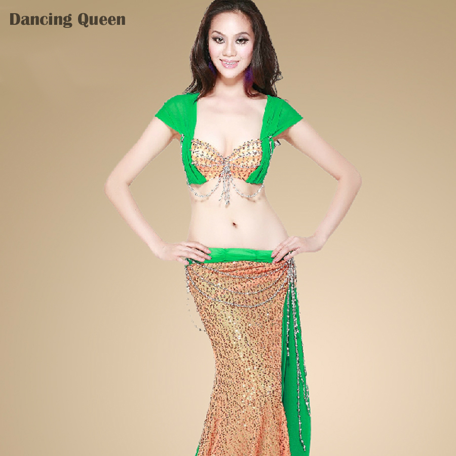2015 New Arrival Belly Dance Practice 2 Pcs Top&Skirt Lady India Dress Traje Danza Del Vientre Women'S Dance Clothing DQ1035(China (Mainland))