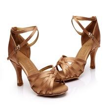 Women's Girl's sandals Professional Satin Upper High heel Salsa /Ballroom/ Latin Dance Shoe (more colors) Wholesale(China (Mainland))
