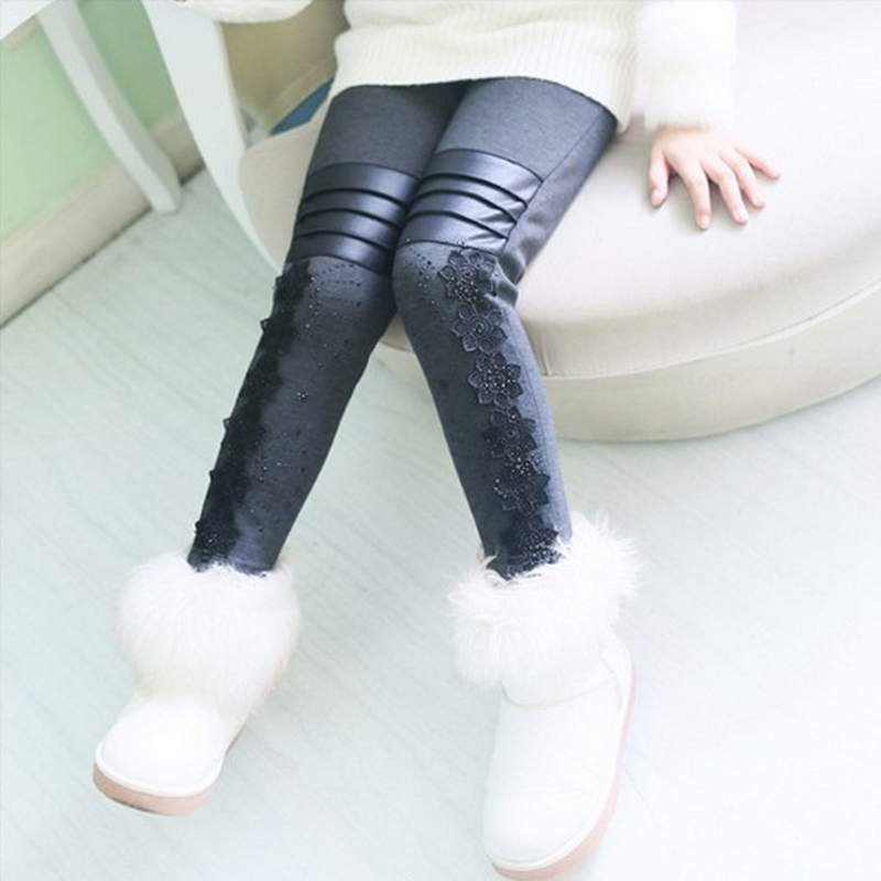 Girls Pants Winter Leggings Children Elastic Floral Lace Printed Flowers Warm Thick Cotton Gray Black Kids Trousers 6-11(China (Mainland))