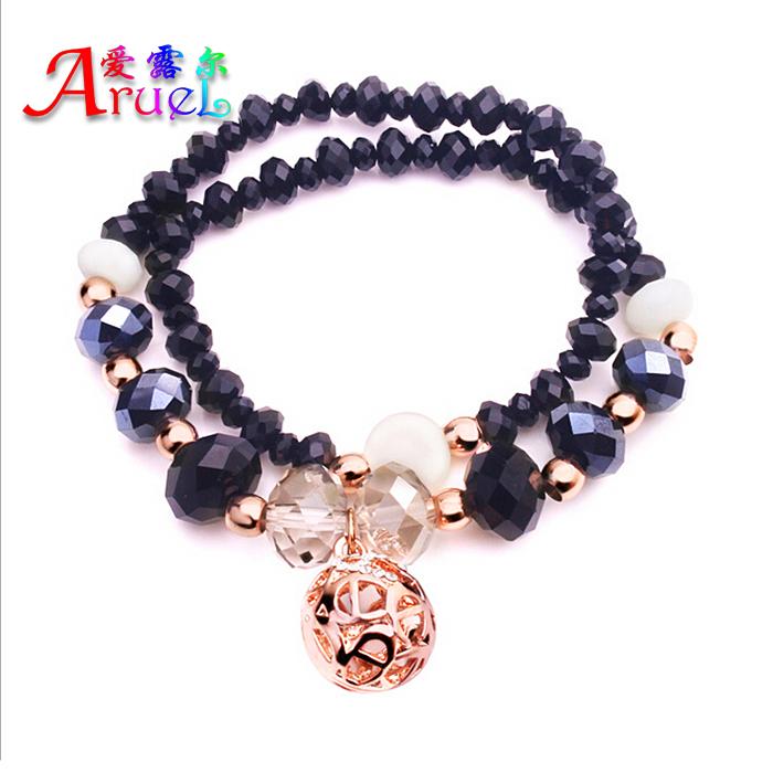 Fine Women's Elastic Crystal DIY Rock Beaded Gold Magnetic Bracelet Jewelry Cristal Handmade Beads Cuff Bracelets Pulseras Mujer(China (Mainland))