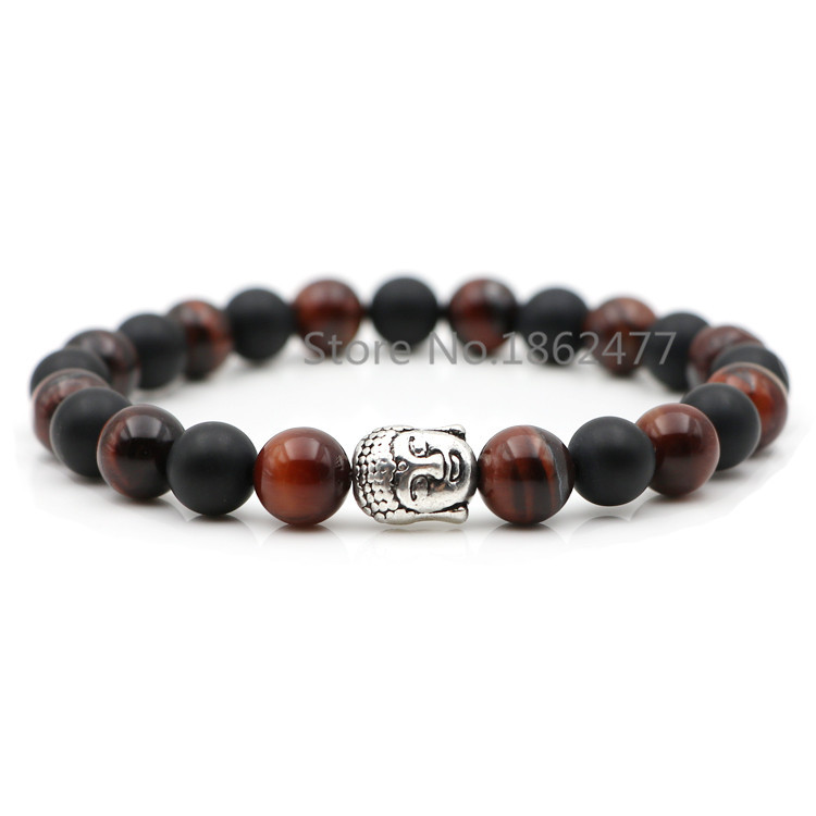 Hot New Red Tiger Eye Beads Matte Onyx Stone Bracelets&Bangles For Women Natural Stone Health Power Wristband For Female Jewelry(China (Mainland))