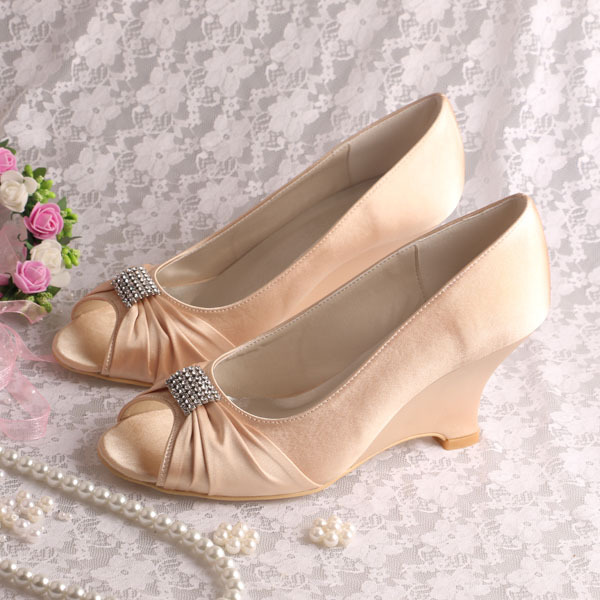 Aliexpress Buy 20 ColorsCustom Handmade Champagne Color Satin Women Wedge Heel Shoes