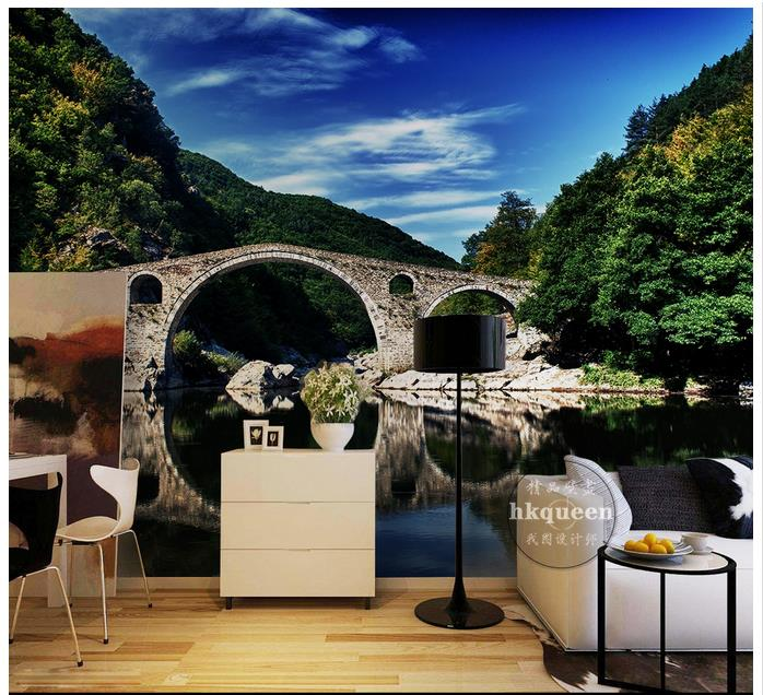 Custom 3d wallpaper for walls 3 d wall mural wallpaper Blue sky mountain forest lake landscape setting wall bridge 3d home decor(China (Mainland))