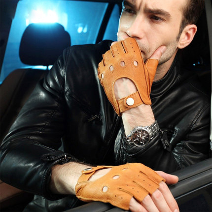 fashion men half finger Genuine leather gloves wrist deerskin gloves leisure driving leather fingerless gloves(China (Mainland))