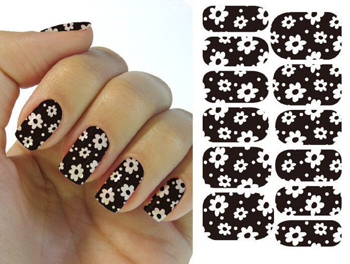 Water Transfer Nail Art Stickers Decal Black Full Wraps Cute Mini White Flowers Design Foils Stamping Tools(China (Mainland))