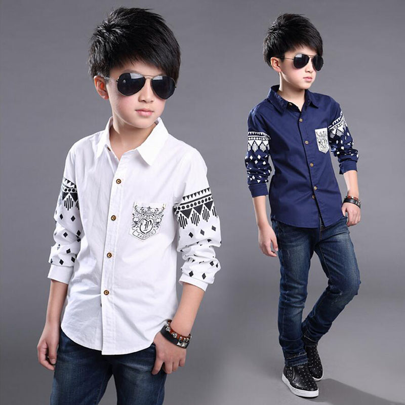 Boys dress Shirt 2016 NEW Spring Hot Selling Soft Fashion Children Clothing Print Navy style Long sleeve Boy Blouses Formal(China (Mainland))