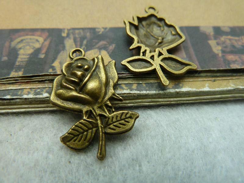 flower charm pendant 17x25mm antique bronze jewelry