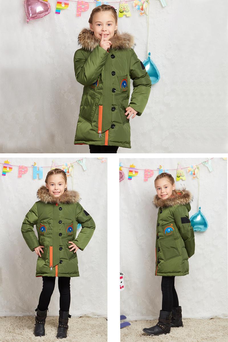 Скидки на 2016 Зимняя Куртка Девушки вниз пальто ребенок вниз куртки девушка duck down длинный Цветок Меха С Капюшоном свободные пальто детей и пиджаки