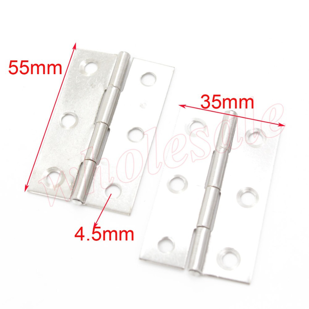 55 x 35mm Stainless Steel Butt Hinges for Cabinet Door Box 60pcs/lot for wholesale(China (Mainland))