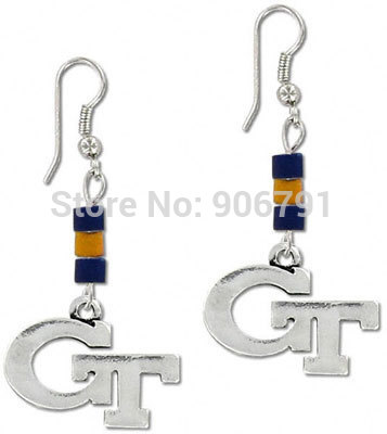 Best-selling free shipping 30pairs a lot Georgia Tech Yellow Jackets sport dangle earrings,antique silver plated(China (Mainland))