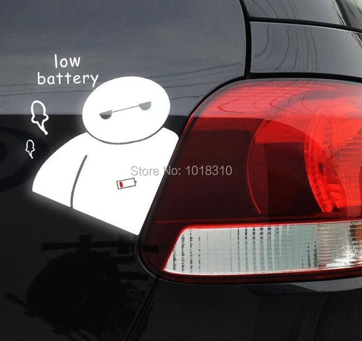 Cartoon Baymax Car Sticker Decals Big Hero 6 Funny Low Battery Warning Sticker for Auto Tail Sticker Car Whole Body(China (Mainland))