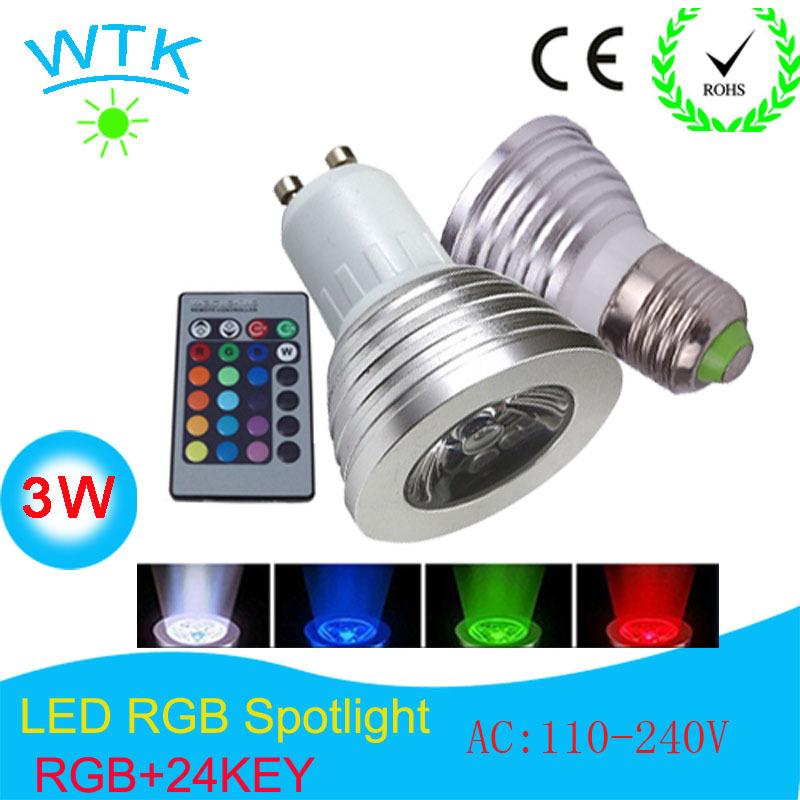 RGB spotlights E27/GU10/E14 AC:110-240v MR16 DC:12v RGB Lamp LED 3W 16 Color Changing Lamp Light Bulb +24 Key IR Remote Control(China (Mainland))
