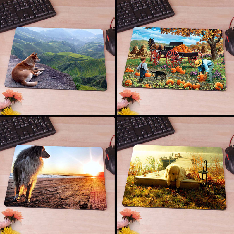 A Dog and a Beautiful Landscape Computer Mouse Pad Mousepads Radiation Non-Skid Rubber Pad(China (Mainland))