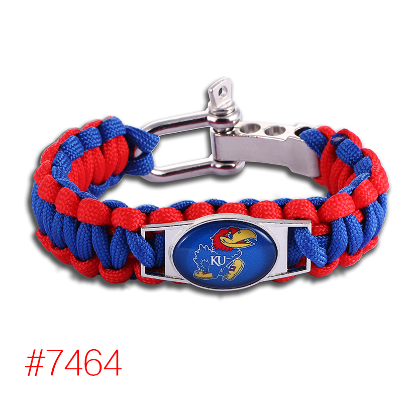 Kansas Jayhawks Custom Paracord Bracelet NCAA College Football Charm Bracelet Survival Bracelet, Drop Shipping! 6Pcs/lot!(China (Mainland))