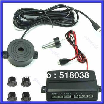 A25Free shipping 2012 New Car 4 Parking Sensors Reverse Backup Buzzer Beeper Alarm Security Black