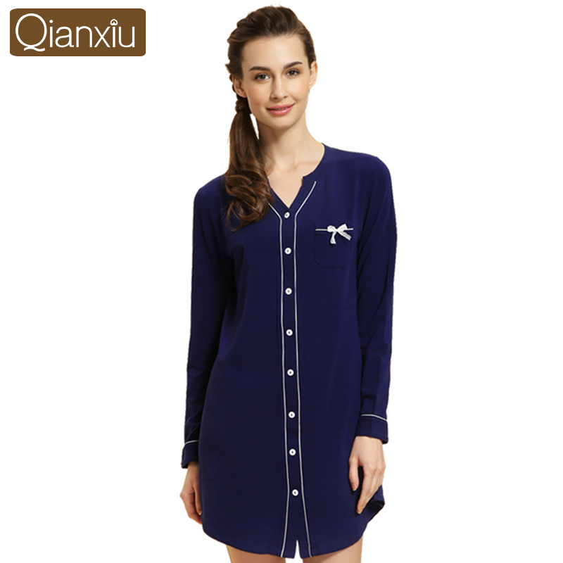 Buy qianxiu high grade quality women Long cotton sleep shirts