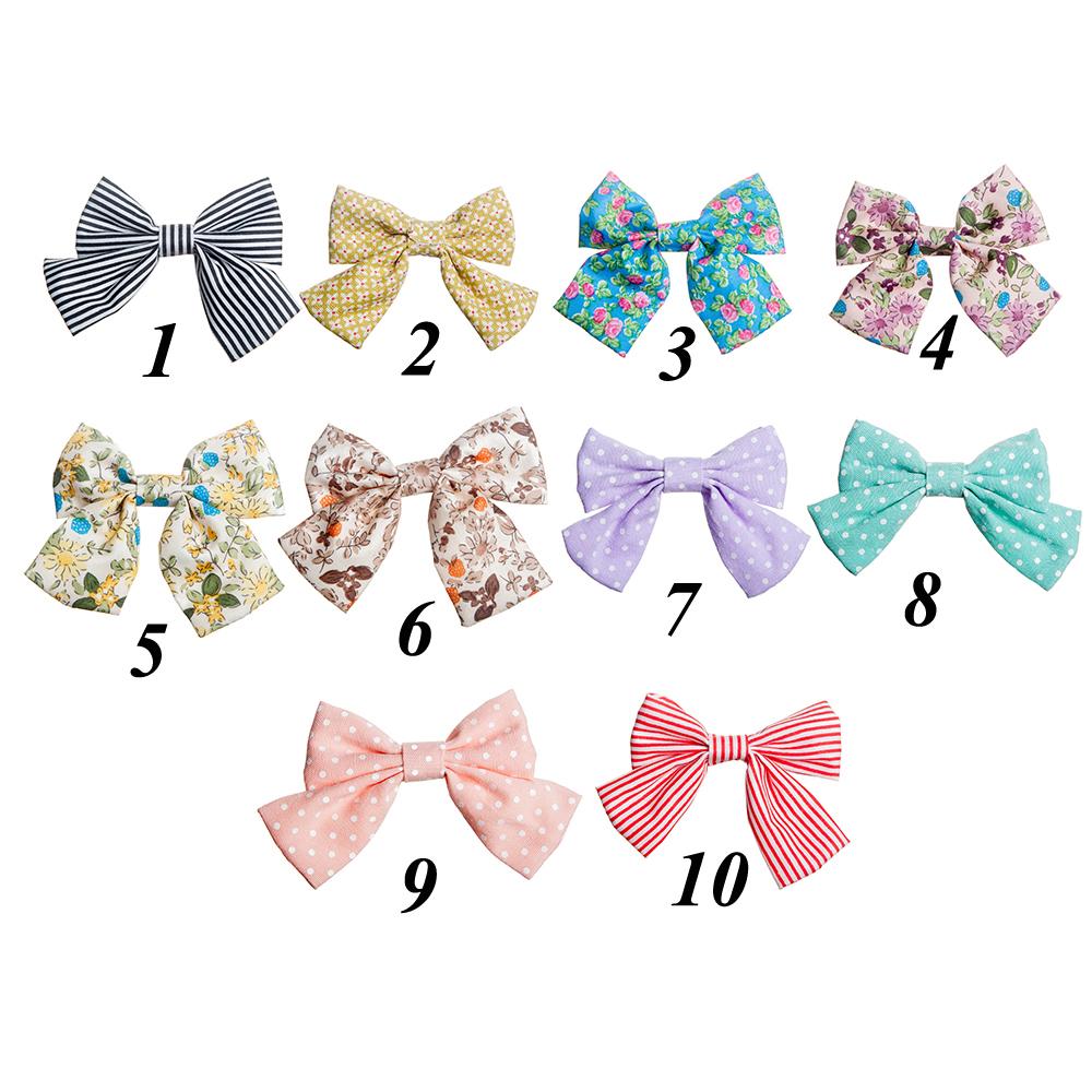 New Fashion Handmade Boutique Soft Print Fabric Hair Bow For Baby Kids Girls Cute Hair Accessories Headwear Hairgrips(China (Mainland))