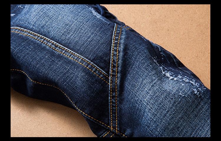 Скидки на Мужские рваные джинсы Slim fit лоскутная печати джинсовые брюки Моды карман на молнии длинные брюки # LS-L005