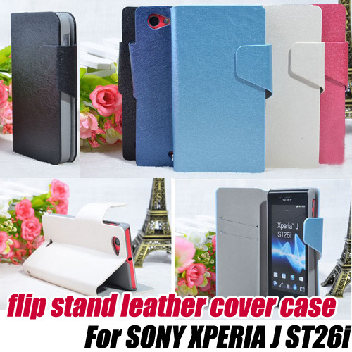 10pcs/lot.fashion Flip Leather skin protective Case stand for SONY XPERIA J ST26i ,free shipping