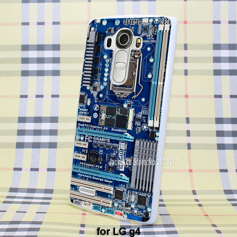 Blue Computer Motherboard back skin case cover for LG g3 g4 plastic white case(China (Mainland))